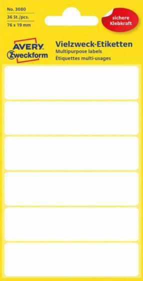 Avery Zweckform No. 3080 kézzel írható 76 x 19 mm méretű, fehér színű, öntapadó etikett címke általános felhasználásra - 36 címke / csomag (Avery 3080)