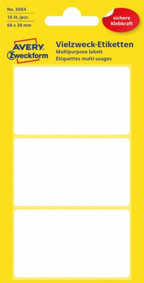 Avery Zweckform No. 3084 kézzel írható 66 x 38 mm méretű, fehér színű, öntapadó etikett címke általános felhasználásra - 18 címke / csomag (Avery 3084)