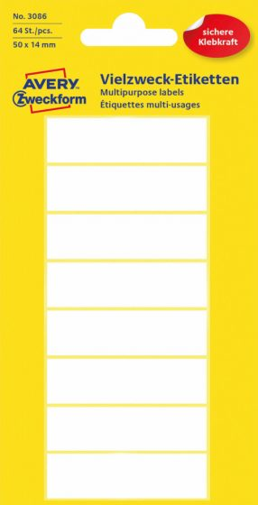Avery Zweckform No. 3086 kézzel írható 50 x 14 mm méretű, fehér színű, öntapadó etikett címke általános felhasználásra - 64 címke / csomag (Avery 3086)