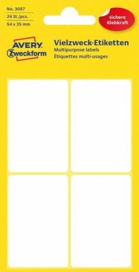 Avery Zweckform No. 3087 kézzel írható 54 x 35 mm méretű, fehér színű, öntapadó etikett címke általános felhasználásra - 24 címke / csomag (Avery 3087)