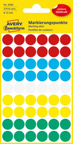 Avery Zweckform No. 3088 vegyes színű, 12 mm átmérőjű öntapadó jelölő címke (jelölő pötty, jelölő pont) - 270 címke / csomag - 5 ív / csomag (Avery 3088)