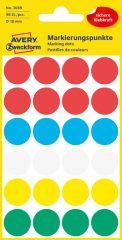 Avery Zweckform No. 3089 vegyes színű, 18 mm átmérőjű öntapadó jelölő címke (jelölő pötty, jelölő pont) - 96 címke / csomag - 4 ív / csomag (Avery 3089)