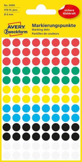 Avery Zweckform No. 3090 vegyes színű, 8 mm átmérőjű öntapadó jelölő címke (jelölő pötty, jelölő pont) - 416 címke / csomag - 4 ív / csomag (Avery 3090)