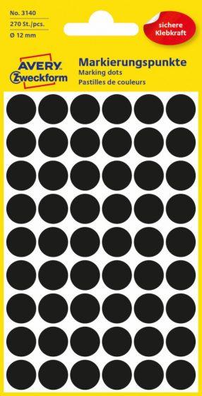 Avery Zweckform No. 3140 fekete színű, 12 mm átmérőjű öntapadó jelölő címke (jelölő pötty, jelölő pont) - 270 címke / csomag - 5 ív / csomag (Avery 3140)