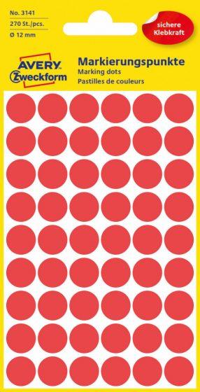 Avery Zweckform No. 3141 piros színű, 12 mm átmérőjű öntapadó jelölő címke (jelölő pötty, jelölő pont) - 270 címke / csomag - 5 ív / csomag (Avery 3141)