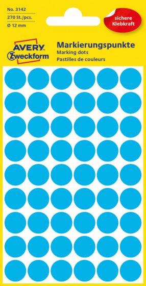 Avery Zweckform No. 3142 kék színű, 12 mm átmérőjű öntapadó jelölő címke (jelölő pötty, jelölő pont) - 270 címke / csomag - 5 ív / csomag (Avery 3142)