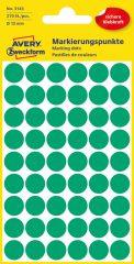 Avery Zweckform No. 3143 zöld színű, 12 mm átmérőjű öntapadó jelölő címke (jelölő pötty, jelölő pont) - 270 címke / csomag - 5 ív / csomag (Avery 3143)