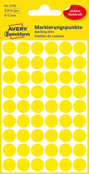 Avery Zweckform No. 3144 sárga színű, 12 mm átmérőjű öntapadó jelölő címke (jelölő pötty, jelölő pont) - 270 címke / csomag - 5 ív / csomag (Avery 3144)