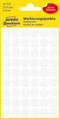 Avery Zweckform No. 3145 fehér színű, 12 mm átmérőjű öntapadó jelölő címke (jelölő pötty, jelölő pont) - 270 címke / csomag - 5 ív / csomag (Avery 3145)