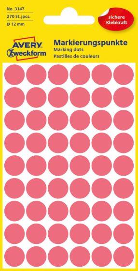 Avery Zweckform No. 3147 neon piros színű, 12 mm átmérőjű öntapadó jelölő címke (jelölő pötty, jelölő pont) - 270 címke / csomag - 5 ív / csomag (Avery 3147)