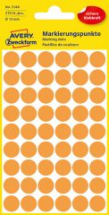 Avery Zweckform No. 3148 neon narancssárga színű, 12 mm átmérőjű öntapadó jelölő címke (jelölő pötty, jelölő pont) - 270 címke / csomag - 5 ív / csomag (Avery 3148)
