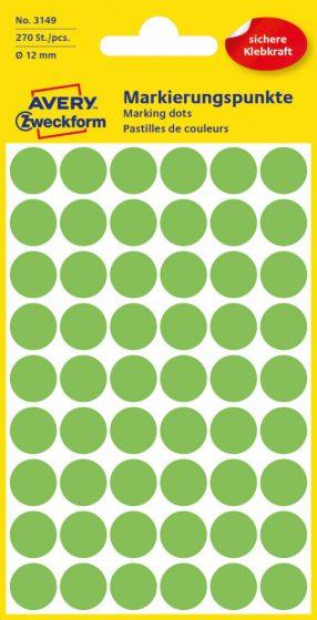 Avery Zweckform No. 3149 neon zöld színű, 12 mm átmérőjű öntapadó jelölő címke (jelölő pötty, jelölő pont) - 270 címke / csomag - 5 ív / csomag (Avery 3149)