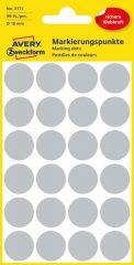 Avery Zweckform No. 3171 szürke színű, 18 mm átmérőjű öntapadó jelölő címke (jelölő pötty, jelölő pont) - 96 címke / csomag - 4 ív / csomag (Avery 3171)