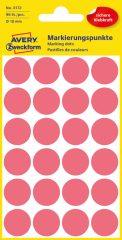 Avery Zweckform No. 3172 neon piros színű, 18 mm átmérőjű öntapadó jelölő címke (jelölő pötty, jelölő pont) - 96 címke / csomag - 4 ív / csomag (Avery 3172)