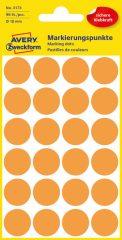 Avery Zweckform No. 3173 neon narancssárga színű, 18 mm átmérőjű öntapadó jelölő címke (jelölő pötty, jelölő pont) - 96 címke / csomag - 4 ív / csomag (Avery 3173)