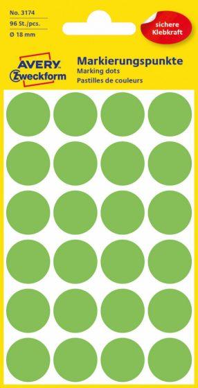 Avery Zweckform No. 3174 neon zöld színű, 18 mm átmérőjű öntapadó jelölő címke (jelölő pötty, jelölő pont) - 96 címke / csomag - 4 ív / csomag (Avery 3174)