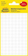 Avery Zweckform No. 3175 fehér színű, 8 mm átmérőjű öntapadó jelölő címke (jelölő pötty, jelölő pont) - 416 címke / csomag - 4 ív / csomag (Avery 3175)