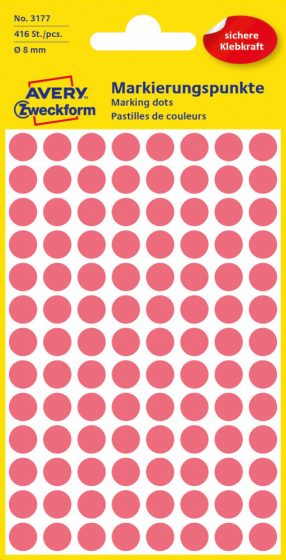 Avery Zweckform No. 3177 neon piros színű, 8 mm átmérőjű öntapadó jelölő címke (jelölő pötty, jelölő pont) - 416 címke / csomag - 4 ív / csomag (Avery 3177)