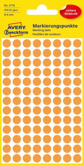 Avery Zweckform No. 3178 neon narancssárga színű, 8 mm átmérőjű öntapadó jelölő címke (jelölő pötty, jelölő pont) - 416 címke / csomag - 4 ív / csomag (Avery 3178)