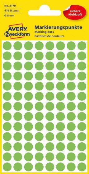 Avery Zweckform No. 3179 neon zöld színű, 8 mm átmérőjű öntapadó jelölő címke (jelölő pötty, jelölő pont) - 416 címke / csomag - 4 ív / csomag (Avery 3179)