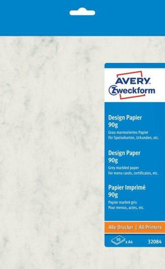 Avery Zweckform No. 32084 univerzális 210 x 297 mm (A4) méretű, 90 g -os szürke színű márványmintás matt papír - 50 ív / csomag (Avery 32084)