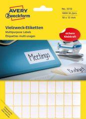 Avery Zweckform No. 3312 kézzel írható 18 x 12 mm méretű, fehér színű, öntapadó etikett címke általános felhasználásra - 1800 címke / csomag (Avery 3312)