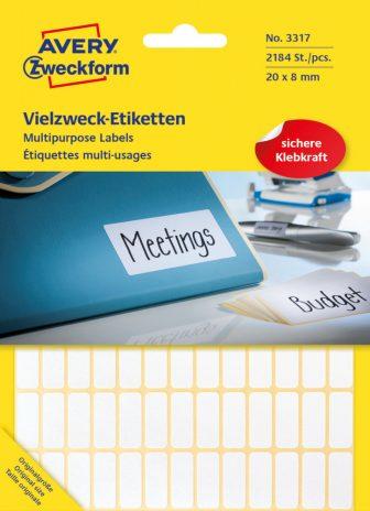Avery Zweckform No. 3317 kézzel írható 20 x 8 mm méretű, fehér színű, öntapadó etikett címke általános felhasználásra - 2184 címke / csomag (Avery 3317)