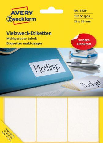 Avery Zweckform No. 3329 kézzel írható 76 x 39 mm méretű, fehér színű, öntapadó etikett címke általános felhasználásra - 192 címke / csomag (Avery 3329)