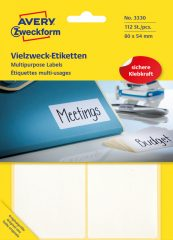 Avery Zweckform No. 3330 kézzel írható 80 x 54 mm méretű, fehér színű, öntapadó etikett címke általános felhasználásra - 112 címke / csomag (Avery 3330)