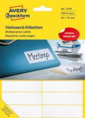 Avery Zweckform No. 3340 kézzel írható 62 x 19 mm méretű, fehér színű, öntapadó etikett címke általános felhasználásra - 392 címke / csomag (Avery 3340)