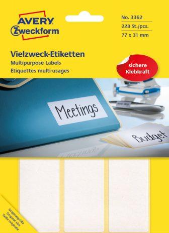 Avery Zweckform No. 3362 kézzel írható 77 x 31 mm méretű, fehér színű, öntapadó etikett címke általános felhasználásra - 224 címke / csomag (Avery 3362)