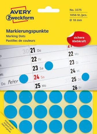 Avery Zweckform No. 3375 kék színű, 18 mm átmérőjű öntapadó jelölő címke (jelölő pötty, jelölő pont) - 1056 címke / csomag - 22 ív / csomag (Avery 3375)