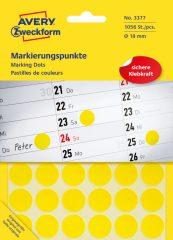 Avery Zweckform No. 3377 sárga színű, 18 mm átmérőjű öntapadó jelölő címke (jelölő pötty, jelölő pont) - 1056 címke / csomag - 22 ív / csomag (Avery 3377)