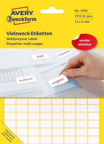 Avery Zweckform No. 3395 fehér színű 13 x 8 mm méretű, kézzel írható (nem nyomtatható) öntapadós etikett címke, visszaszedhető ragasztóval - kiszerelés: 3712 címke / 29 ív