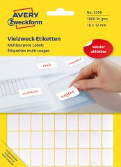 Avery Zweckform No. 3396 fehér színű 18 x 12 mm méretű, kézzel írható (nem nyomtatható) öntapadós etikett címke, visszaszedhető ragasztóval - kiszerelés: 1800 címke / 25 ív