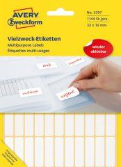 Avery Zweckform No. 3397 fehér színű 32 x 10 mm méretű, kézzel írható (nem nyomtatható) öntapadós etikett címke, visszaszedhető ragasztóval - kiszerelés: 1144 címke / 26 ív