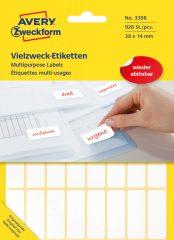 Avery Zweckform No. 3398 fehér színű 38 x 14 mm méretű, kézzel írható (nem nyomtatható) öntapadós etikett címke, visszaszedhető ragasztóval - kiszerelés: 928 címke / 29 ív