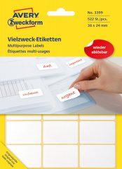 Avery Zweckform No. 3399 fehér színű 38 x 24 mm méretű, kézzel írható (nem nyomtatható) öntapadós etikett címke, visszaszedhető ragasztóval - kiszerelés: 522 címke / 29 ív