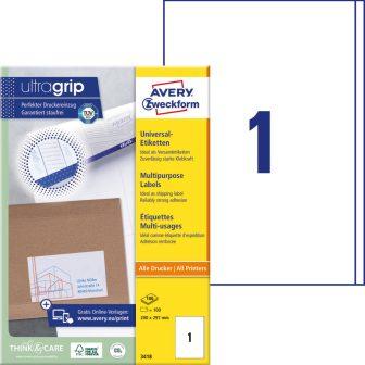 Avery Zweckform No. 3418 univerzális 200 x 297 mm méretű, fehér öntapadó etikett címke A4-es íven - 100 címke / doboz - 100 ív / doboz (Avery 3418)