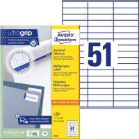 Avery Zweckform No. 3420 univerzális 70 x 16,9 mm méretű, fehér öntapadó etikett címke A4-es íven - 5100 címke / doboz - 100 ív / doboz (Avery 3420)