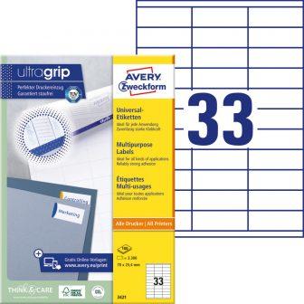 Avery Zweckform No. 3421 univerzális 70 x 25,4 mm méretű, fehér öntapadó etikett címke A4-es íven - 3300 címke / doboz - 100 ív / doboz (Avery 3421)