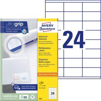 Avery Zweckform No. 3422 univerzális 70 x 35 mm méretű, fehér öntapadó etikett címke A4-es íven - 2400 címke / doboz - 100 ív / doboz (Avery 3422)