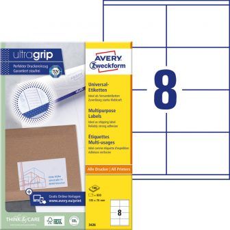 Avery Zweckform No. 3426 univerzális 105 x 70 mm méretű, fehér öntapadó etikett címke A4-es íven - 800 címke / doboz - 100 ív / doboz (Avery 3426)