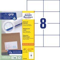 Avery Zweckform No. 3427-200 univerzális 105 x 74 mm méretű, fehér öntapadó etikett címke A4-es íven - 1600 címke / doboz - 200 ív / doboz (Avery 3427-200)