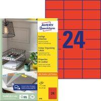 Avery Zweckform No. 3448 univerzális 70 x 37 mm méretű, piros színű öntapadó etikett címke A4-es íven - 2400 címke / doboz - 100 ív / doboz (Avery 3448)