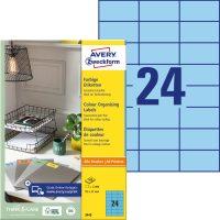 Avery Zweckform No. 3449 univerzális 70 x 37 mm méretű, kék színű öntapadó etikett címke A4-es íven - 2400 címke / doboz - 100 ív / doboz (Avery 3449)