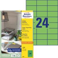 Avery Zweckform No. 3450 univerzális 70 x 37 mm méretű, zöld színű öntapadó etikett címke A4-es íven - 2400 címke / doboz - 100 ív / doboz (Avery 3450)