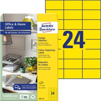Avery Zweckform 3451-10 nyomtatható színes öntapadós etikett címke