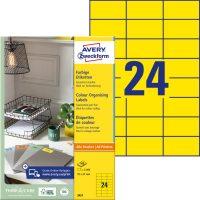 Avery Zweckform No. 3451 univerzális 70 x 37 mm méretű, sárga színű öntapadó etikett címke A4-es íven - 2400 címke / doboz - 100 ív / doboz (Avery 3451)