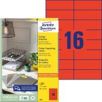 Avery Zweckform No. 3452 univerzális 105 x 37 mm méretű, piros színű öntapadó etikett címke A4-es íven - 1600 címke / doboz - 100 ív / doboz (Avery 3452)